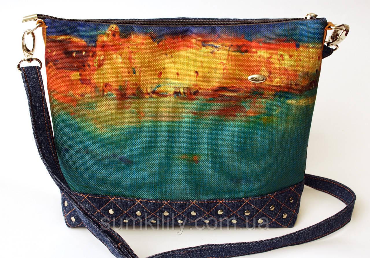 Женская джинсовая стеганная сумочка Бирюза