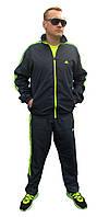 Мужской спортивный костюм Adidas плащевка с яркими полосами (Реплика)