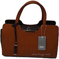 Рыжая  женская сумка  с отделкой под крокодил