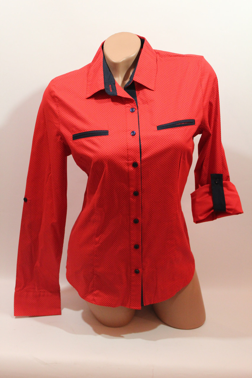 Женские однотонные рубашки (хлопок+ликра) Mod-da 4930 горошек красный мелкий