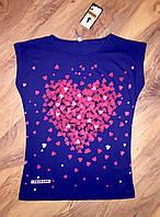 Женская футболка сердечки синяя