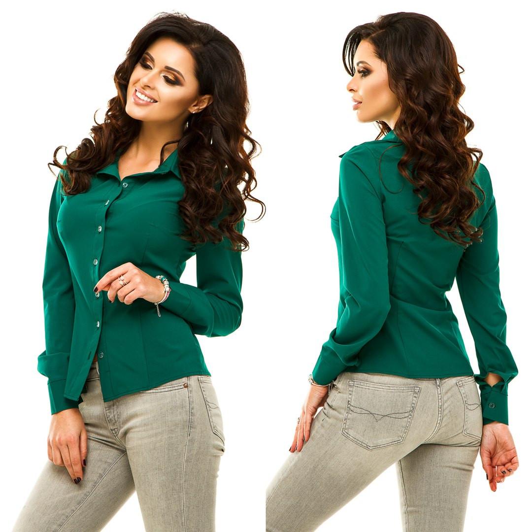 Стильная женская рубашка с длинным рукавом.Материал: евро-бенгалин Размеры: 42, 44, 46, 48 Цвета: белый, темно