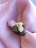 """Кольцо ручной работы. Кольцо с розовым кварцем, """"Корзинка роз"""""""