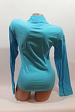 Женские однотонные рубашки (хлопок+ликра) ML norma odnot. голубой , фото 3