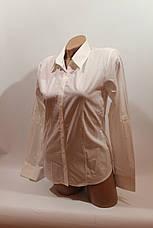 Женские однотонные рубашки (хлопок+ликра) ML norma odnot. белый, фото 2