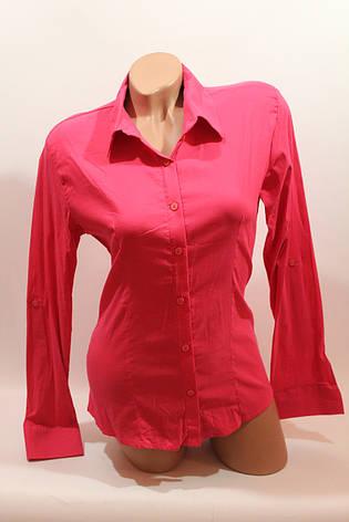 Женские однотонные рубашки (хлопок+ликра) ML norma odnot. малина, фото 2