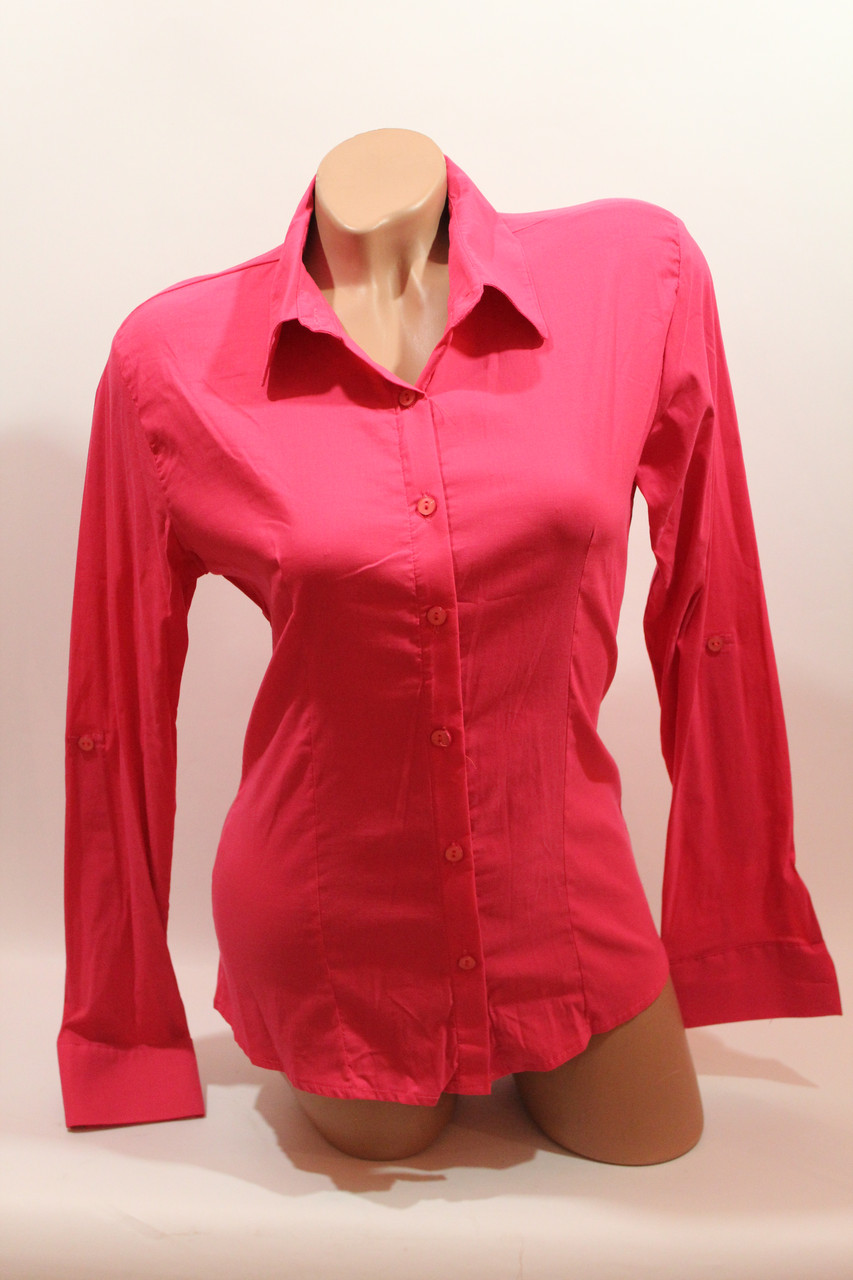 Женские однотонные рубашки (хлопок+ликра) ML norma odnot. малина