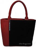 Женская сумка кирпичного цвета с замшем, фото 1