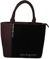 Коричневая сумка с карманом из замши