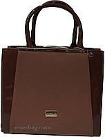 Кофейная женская сумка с лаковыми вставками, фото 1