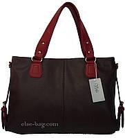 Коричневая сумка с бордовыми ручками