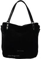 Черная сумка из натурального замша