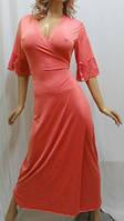 """Женский длинный халат на запах с гипюром большого размера от50 до 56, """"Сердце Королевы"""" коралловый"""