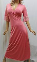 """Женский длинный халат на запах с гипюром большого размера от50 до 56, """"Сердце Королевы"""" тёмно-розовый"""