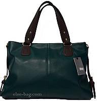 Мягкая  зеленая сумка с коричневыми ручками
