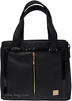 Женская черная сумка на два отдела