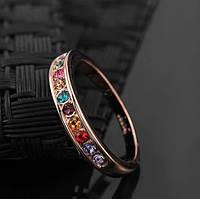 Позолоченное кольцо с австрийскими кристаллами р 18,19,20 код 437
