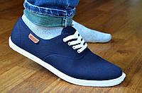 Мокасины кеды мужские синие текстиль на шнурках популярные (Код: 387)
