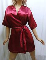 """Атласный короткий женский халат, """"Сердце любви"""" бордовый"""