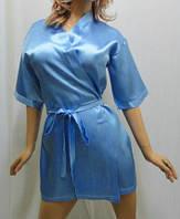"Атласный короткий женский халат, ""Сердце любви"" голубой"
