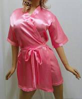 """Атласный короткий женский халат, """"Сердце любви"""" розовый"""