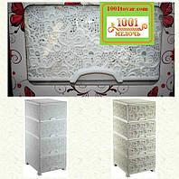 Комод пластиковый белый Ажурный, Elif Plastik, Турция