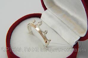 Кольцо Корона серебряное с золотом и фианитами