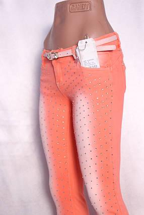 Цветные  женские джинсы со стразами, фото 2