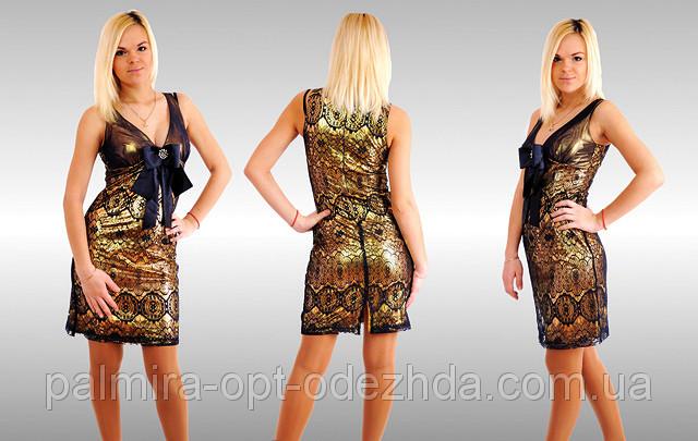 """Стильное нарядное женское платье """"Золото Бант"""""""