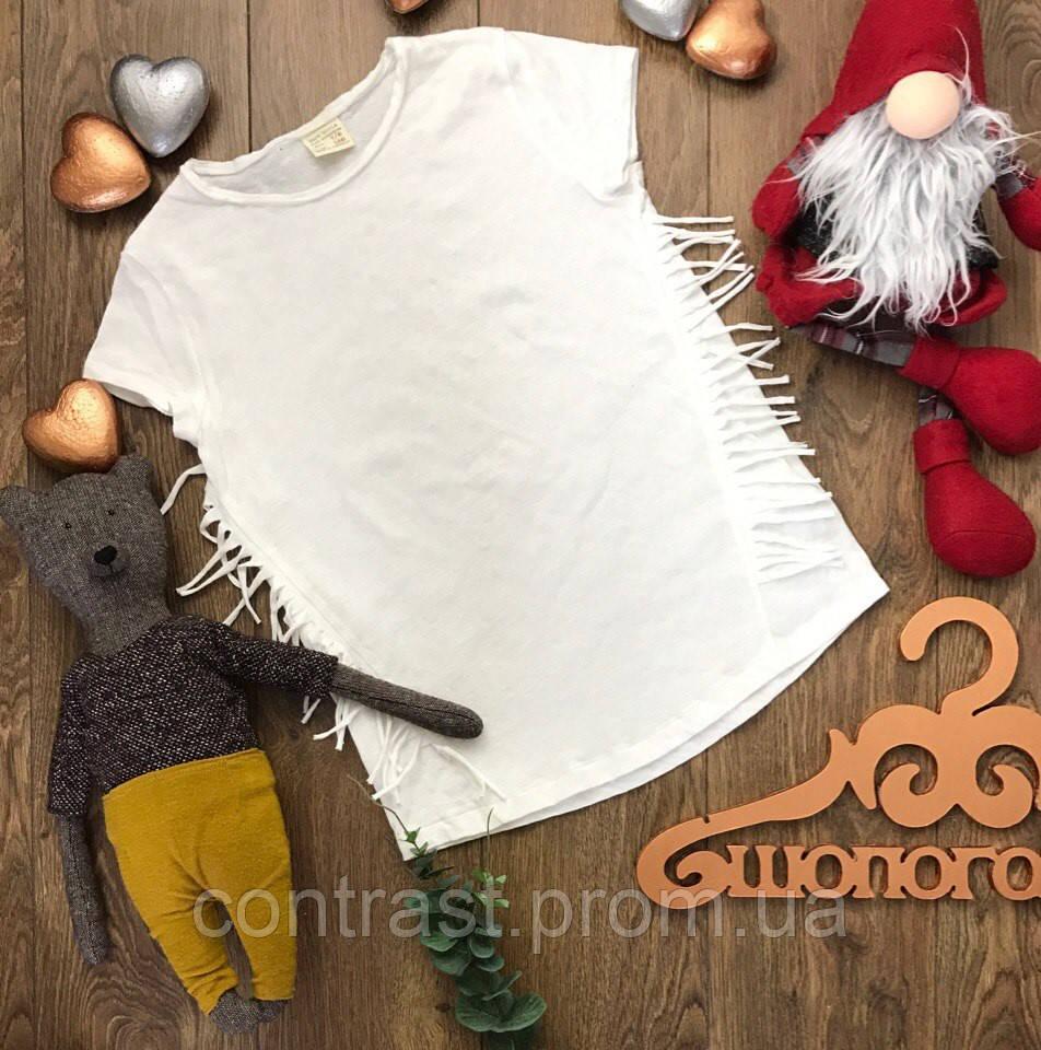 Легкая футболка для девочки с декоративной бахромой  BD0808  ZARA