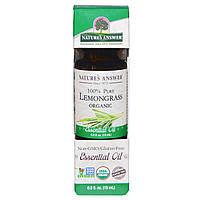Nature's Answer, Органическое эфирное масло, 100% лемонграсс, 15 мл (0,5 унций)