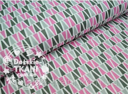 Лоскут ткани №414а ткань хлопковая с серо-розовыми пирамидками
