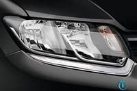 Renault Logan III 2013+ гг. Накладки на фары (2 шт, нерж)