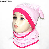 Детская шапка для девочки GSK-26 с шарфом-снудом *Сердце* р.54