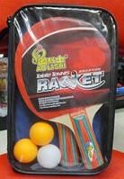 Набор для игры в Теннис, ракетки (1,2см, цветная ручка) + 3 мяча, сумка, BT-PPS-0027