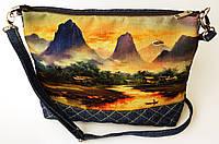 Женская джинсовая стеганная сумочка Горы 2, фото 1