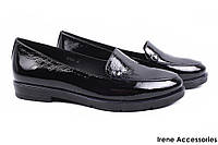 Туфли женские Dina Fabiani комфорт натуральная лаковая кожа (комфортные, каблук, черный)