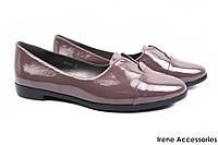 Стильные туфли женские Dina Fabiani комфорт натуральная лаковая кожа (комфортные, каблук, серый)
