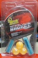 Набор для игры в настольный Теннис, ракетки (0,7см, цветная ручка) + 3 мяча пластиковых,  BT-PPS-0003
