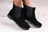 Ботинки женские демисезонные черные из натуральной замши