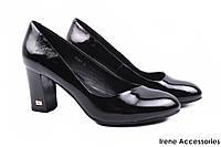 Стильные туфли женские Dina Fabiani натуральная лаковая кожа (комфортные, каблук, черный)