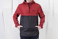 Мужской анорак Nike  на весну,красно-черный.