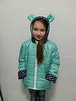 Куртка для девочки с капюшоном с ушками. цвет бирюза