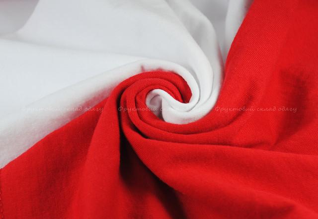 Мужская футболка с цветными рукавами Белый/Красный