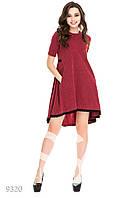 Пышное бордовое платье-трапеция с черным кружевом