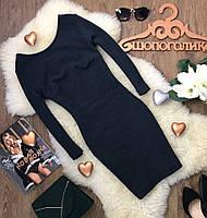Демисезонное платье из фактурной материи с рукавом 3/4 и глубоким вырезом на спинке  DR39033