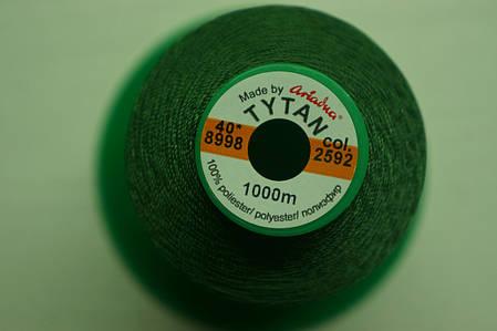 Нить №40 (1000 м.) «Титан» колір 2592 зелений, фото 2
