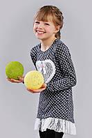 Трикотажная детская туника с кружевом для девочки