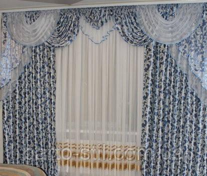 """Шторы + Ламбрекен """"Блекаут"""" Голубого цвета  для гостиной,спальни .Ширина 2.5м -3.5м высота 2.8"""