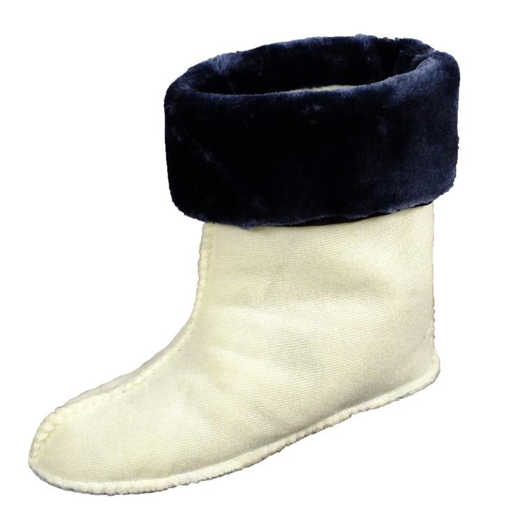 Утеплитель (вставка) меховой VR женский для сапог коротких резиновых (ботиков) темно-синий манжет